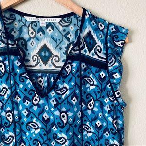 Veronica Beard Rincon Silk Blouse Blue Black